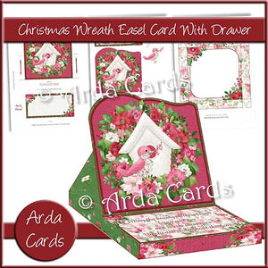 Christmas Wreath Easel Card With Drawer - The Printable Craft Shop