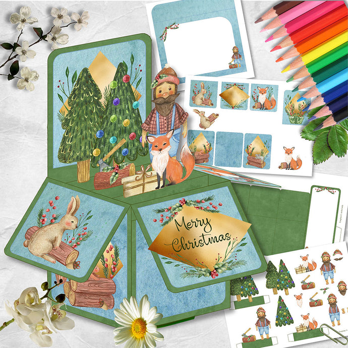 Christmas Woodcutter Pop Up Box Card