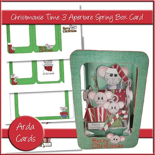 Christmouse Time 3 Aperture Spring Box Card - The Printable Craft Shop