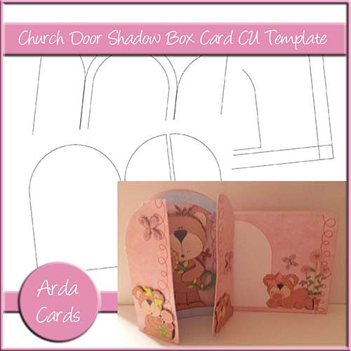 Church Door Shadow Box Card CU Template - The Printable Craft Shop