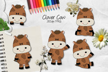 Load image into Gallery viewer, Clover Cow CU Clipart