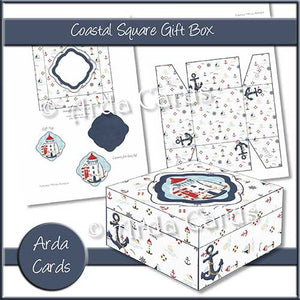 Coastal Square Printable Gift Box - The Printable Craft Shop