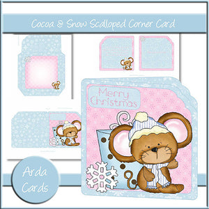 Cocoa & Snow Scalloped Corner Card - The Printable Craft Shop