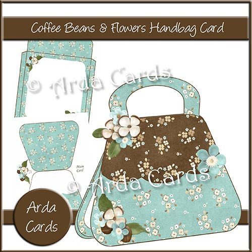 Coffee Beans & Flowers Handbag Card - The Printable Craft Shop