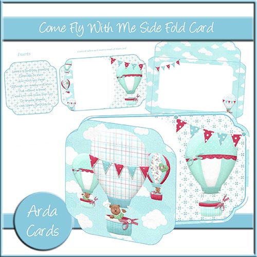 Come Fly With Me Side Fold Card - The Printable Craft Shop