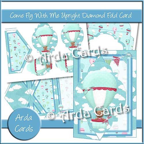 Come Fly With Me Upright Diamond Fold Card - The Printable Craft Shop