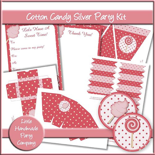 Cotton Candy Silver Party Set - The Printable Craft Shop