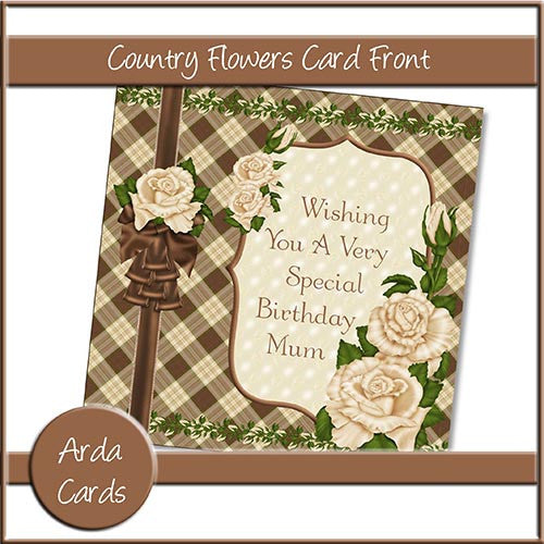 Country Flowers Card Front - The Printable Craft Shop