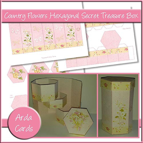 Country Flowers Hexagonal Secret Treasure Box - The Printable Craft Shop