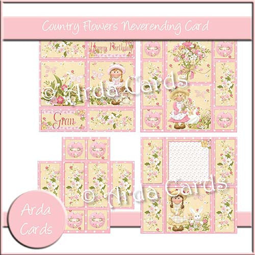 Country Flowers Neverending Card - The Printable Craft Shop
