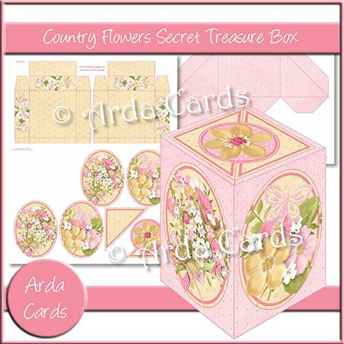 Country Flowers Secret Treasure Box - The Printable Craft Shop