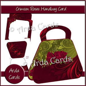 Crimson Roses Handbag Card - The Printable Craft Shop