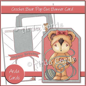 Crochet Bear Printable Pop Out Banner Card - The Printable Craft Shop