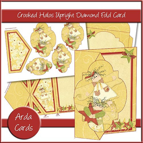 Crooked Halos Upright Diamond Fold Card - The Printable Craft Shop