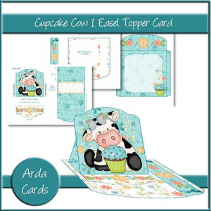 Cupcake Cow 1 Easel Topper Card - The Printable Craft Shop