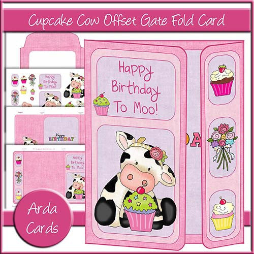 Cupcake Cow Offset Gate Fold Card - The Printable Craft Shop