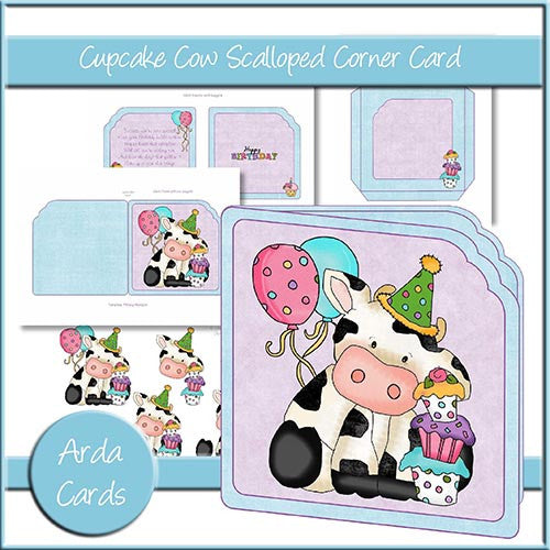 Cupcake Cow Scalloped Corner Card - The Printable Craft Shop