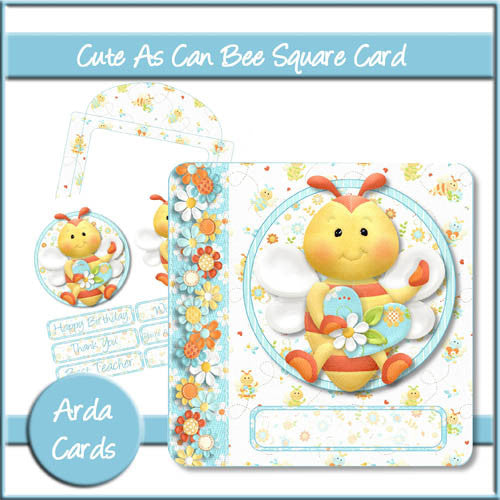 Cute As Can Bee Square Card - The Printable Craft Shop