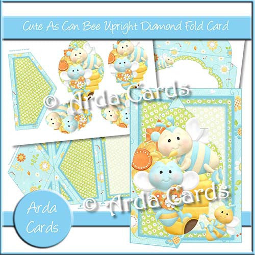 Cute As Can Be Upright Diamond Fold Card - The Printable Craft Shop