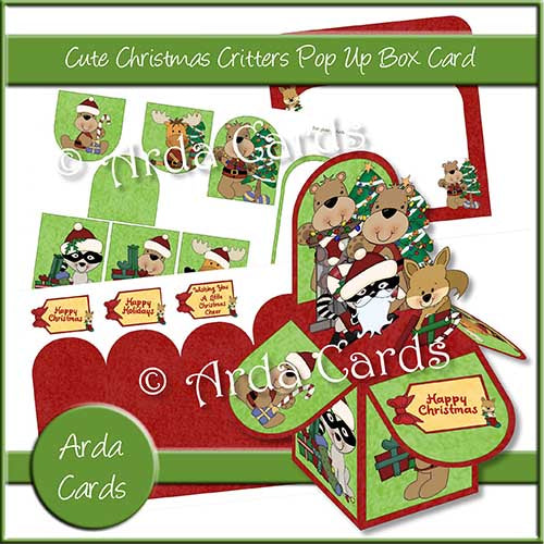 Cute Christmas Critters Pop Up Box Card