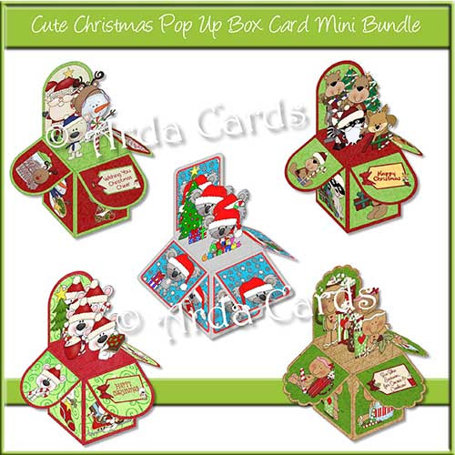 Cute Christmas Pop Up Box Card Mini Bundle Printable