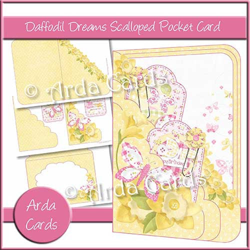 Daffodil Dreams Printable Scalloped Pocket Card - The Printable Craft Shop