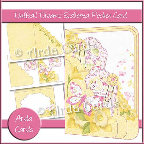 Daffodil Dreams Printable Scalloped Pocket Card