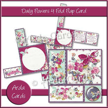 Load image into Gallery viewer, Daily Flowers 4 Fold Flap Card - The Printable Craft Shop - 1