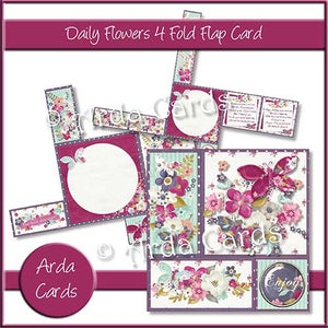 Daily Flowers 4 Fold Flap Card - The Printable Craft Shop - 1