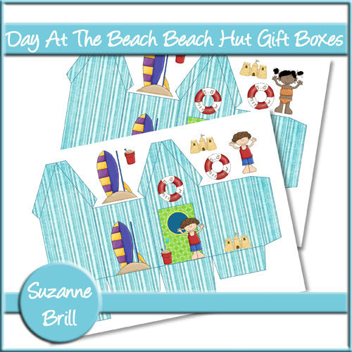 Day At The Beach Beach Hut Gift Boxes - The Printable Craft Shop