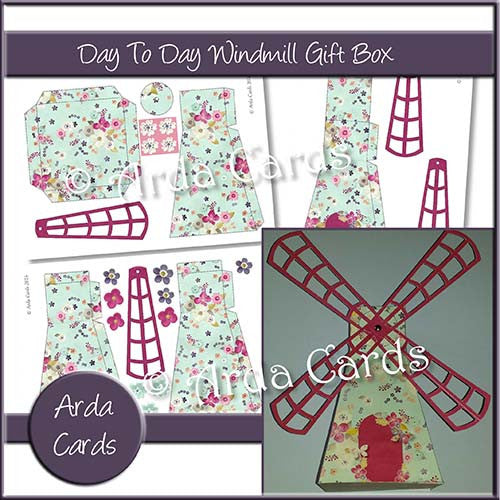 Day To Day Flowers Windmill Gift Box - The Printable Craft Shop