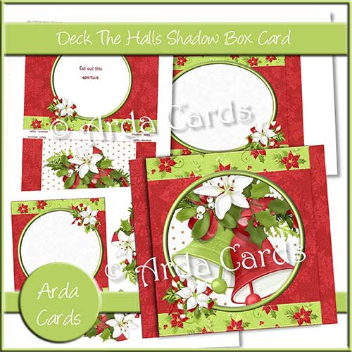 Deck The Halls Shadow Box Card - The Printable Craft Shop