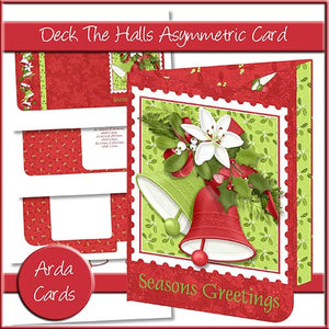 Deck The Halls Asymmetric Card - The Printable Craft Shop