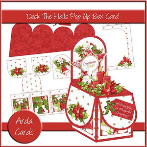 Deck The Halls Pop Up Box Card - The Printable Craft Shop