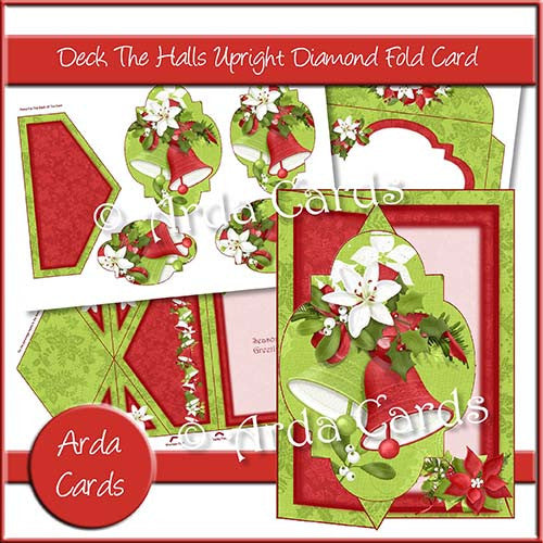 Deck The Halls Upright Diamond Fold Card - The Printable Craft Shop