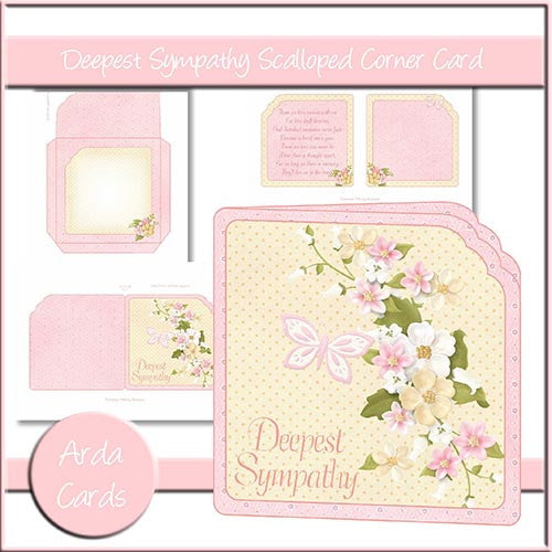 Deepest Sympathy Scalloped Corner Card - The Printable Craft Shop