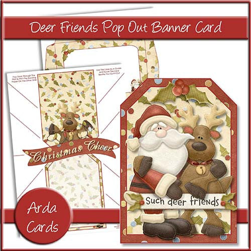 Deer Friends Pop Out Banner Card - The Printable Craft Shop