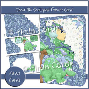 Dinoriffic Printable Scalloped Pocket Card - The Printable Craft Shop