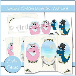 Dinosaur Wedding Double Foldback Card - The Printable Craft Shop