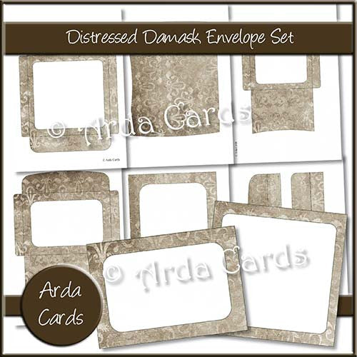 Distressed Damask Envelope Set - The Printable Craft Shop