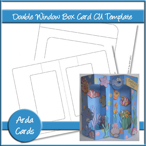 Double Window Box Card CU Template - The Printable Craft Shop