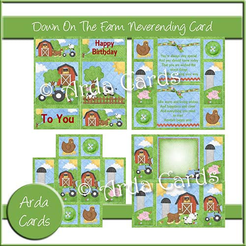 Down On The Farm Neverending Card - The Printable Craft Shop