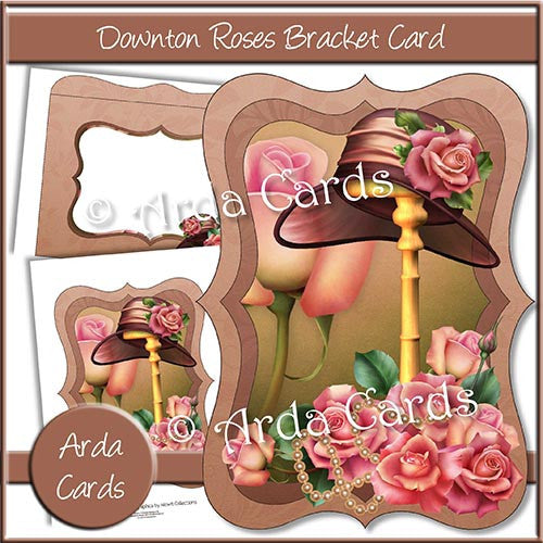 Downton Roses Bracket Card - The Printable Craft Shop