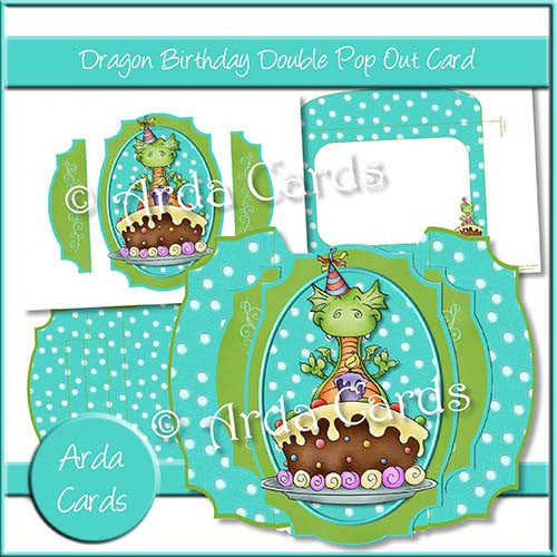 Dragon Birthday Double Pop Out Card - The Printable Craft Shop