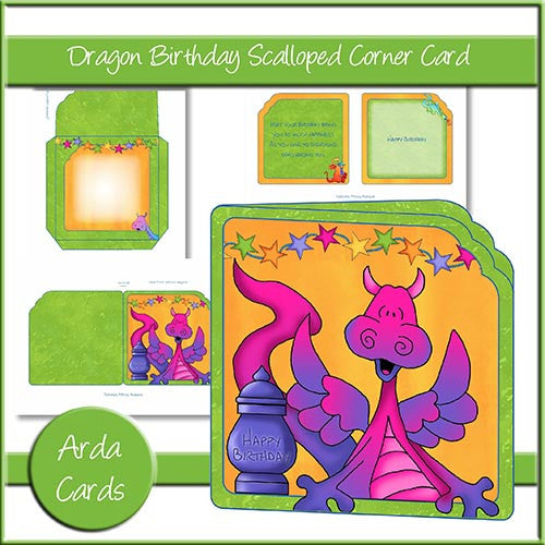 Dragon Birthday Scalloped Corner Card - The Printable Craft Shop