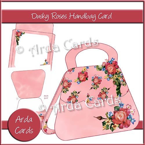 Dusky Roses Handbag Card - The Printable Craft Shop