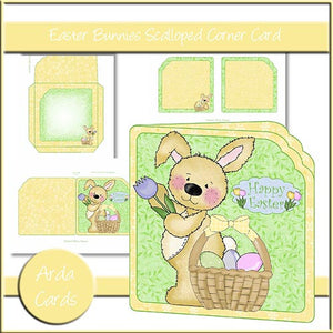 Easter Bunny Printable Scalloped Corner Card - The Printable Craft Shop