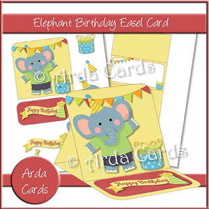 Elephant Birthday Easel Card - The Printable Craft Shop