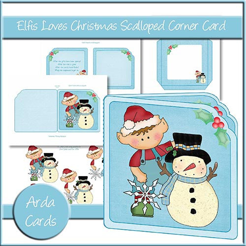 Elfis Loves Christmas Scalloped Corner Card - The Printable Craft Shop