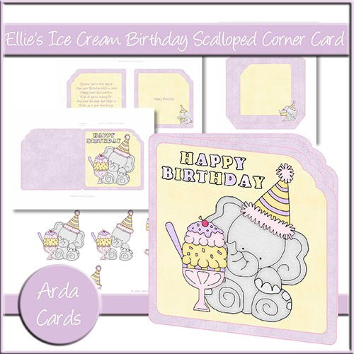 Ellie's Ice Cream Birthday Scalloped Corner Card - The Printable Craft Shop